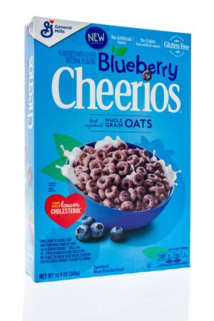 Winneconne, WI - 19 January 2019 : A package of Cherrios in Blueberry flavor on an isolated background Editorial
