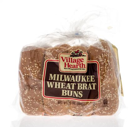 Winneconne, WI - 19 January 2019 : A package of Village Hearth Milwaukee wheat brat buns on an isolated background