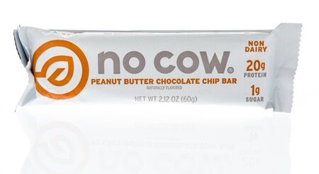 Winneconne, WI - 19 January 2019 : A package of No cow peanut butter chocolate chop bar on an isolated background