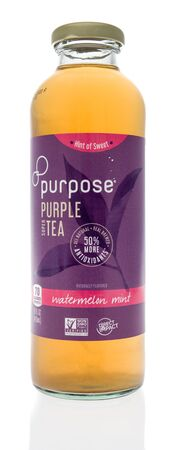 Winneconne, WI - 1 February 2020 : A bottle of Purpose purple super tea on an isolated background