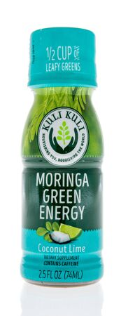 Winneconne, WI - 1 February 2020 : A bottle of Kuli Kuli moringa green energy drink on an isolated background
