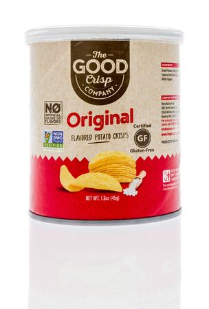 Winneconne, WI - 1 February 2020 : A package of The good crisp company original flavored potato crisps on an isolated background