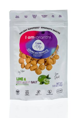 Winneconne, WI - 1 February 2020 : A package of I am nutz amaranth peanuts on an isolated background