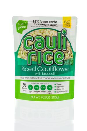 Winneconne, WI - 1 February 2020 : A package of Full Green cauli rice riced cauliflower on an isolated background