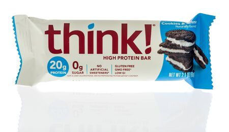 Winneconne, WI - 1 February 2020 : A package of Think high protein bar on an isolated background