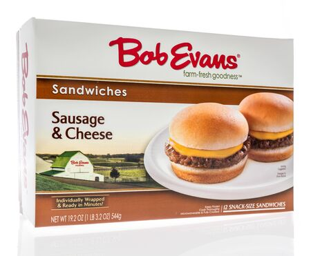 Winneconne,  WI - 11 February 2020:  A package of Bob Evans sausage and cheese breakfast sanwiches on an isolated background.