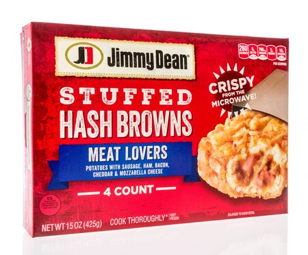 Winneconne,  WI - 11 February 2020:  A package of Jimmy Dean stuffed hash browns meat lovers breakfast on an isolated background.
