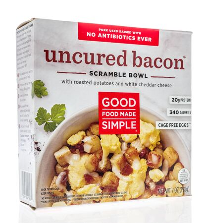 Winneconne,  WI - 11 February 2020:  A package of Good food made simple uncured bacon scramble bowl breakfast on an isolated background.