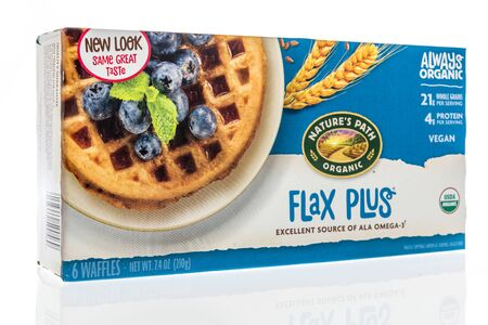Winneconne,  WI - 11 February 2020:  A package of Natures path organic flax plus waffles breakfast on an isolated background.