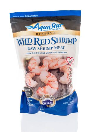 Winneconne,  WI - 11 February 2020:  A package of Aquastar reserve wild red  shrimp on an isolated background.