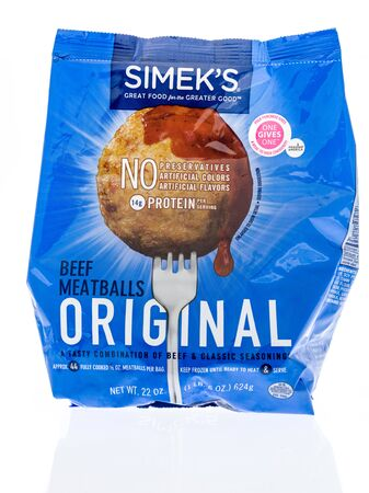 Winneconne,  WI - 11 February 2020:  A package of Simeks beef meatballs on an isolated background.