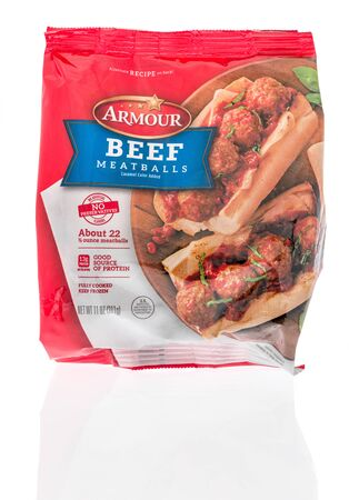 Winneconne,  WI - 11 February 2020:  A package of Armour beef meatballs on an isolated background.