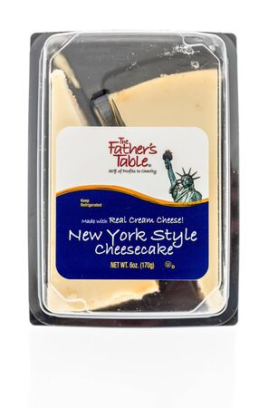 Winneconne,  WI - 11 February 2020:  A package of The Fathers table New York style cheesecake on an isolated background.