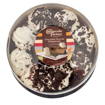 Winneconne,  WI - 11 February 2020:  A package of The cheesecake factory chocolate mouse cheesecake on an isolated background.