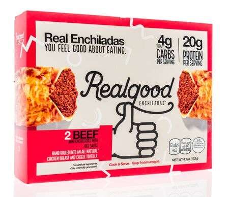Winneconne,  WI - 11 February 2020:  A package of Real Enchiladas real good beef on an isolated background.