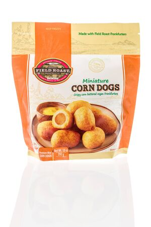 Winneconne,  WI - 11 February 2020:  A package of Filed roast minature corn dogs on an isolated background.