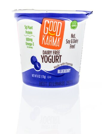 Winneconne,  WI - 11 February 2020:  A package of Good Karma dairy free yogurt on an isolated background.