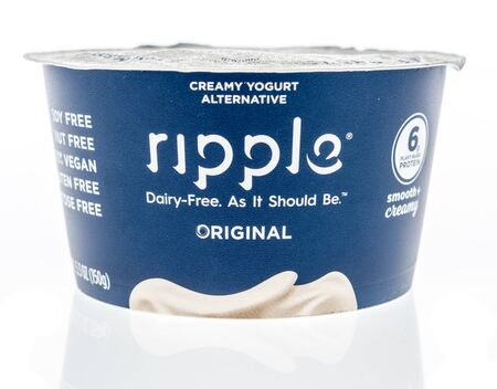 Winneconne,  WI - 11 February 2020:  A package of Ripple dairy free yogurt on an isolated background.