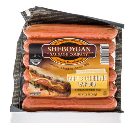 Winneconne, WI - 12 March 2020: A package of Sheboygan sausage company beef and cheddar mvp dog on an isolated background. Editorial