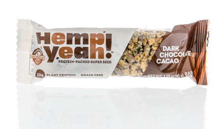 Winneconne,  WI - 7 March 2020:  A package of Manitoba harvest hemp yeah  bar on an isolated background. Editöryel