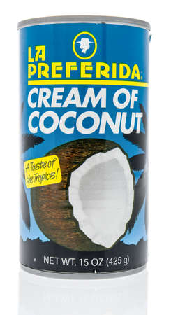 Winneconne, WI - 17 April 2020: A package of La Preferida cream of coconut on an isolated background. Editorial