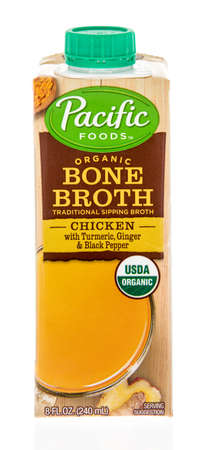 Winneconne, WI - 3 April 2020: A package of Pacific foods organic bone broth on an isolated background.