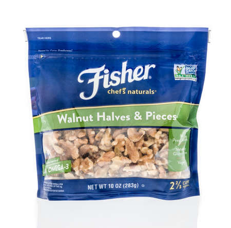 Winneconne, WI - 17 April 2020: A package of Fisher chefs choice walunts on an isolated background. Editorial