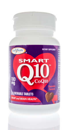 Winneconne,  WI - 26 June 2020: A bottle of Enzmatic smart Q10 CoQ10 supplement on an isolated background