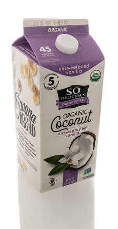 Winneconne, WI - 16 October 2020:  A package of So Delicious dairy free organic coconut milk on an isolated background.