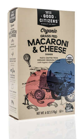 Winneconne, WI - 16 October 2020:  A package of Good Citizens macaroni and cheese on an isolated background.