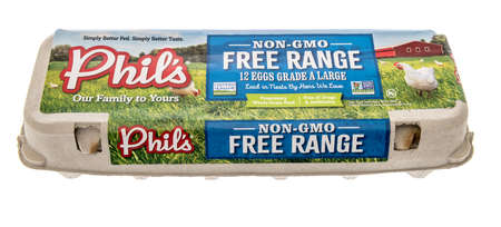 Winneconne, WI - 16 October 2020:  A package of Phils free range dozen eggs on an isolated background.