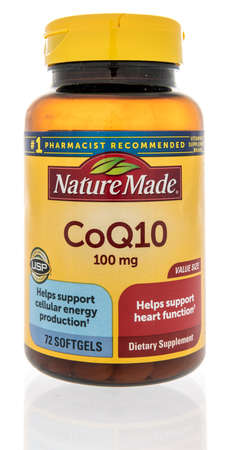 Winneconne, WI -12 January 2021: A package of Nature made CoQ10 supplement on an isolated background.