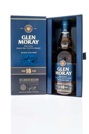 Winneconne, WI -22 January 2021: A bottle of Glen Moray speyside single malt scotch whisky on an isolated background.