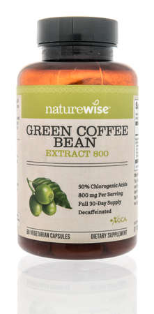 Winneconne, WI -12 January 2021: A package of Naturewise green coffee bean extract supplement on an isolated background.