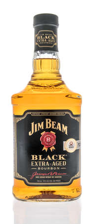 Winneconne, WI -22 January 2021: A bottle of Jim Beam black extra aged bourbon whikey on an isolated background.