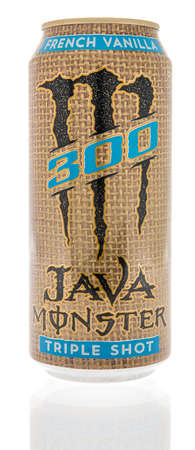Winneconne, WI -12 January 2021: A can of Monster 300 java triple shot coffee on an isolated background.