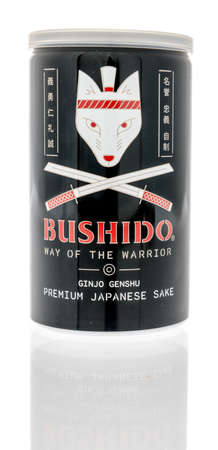 Winneconne, WI -29 January 2021: A can of Bushido Japanese sake on an isolated background. Éditoriale