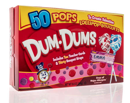 Winneconne, WI -30 January 2021: A package of Dum Dums Lillipop candy on an isolated background.