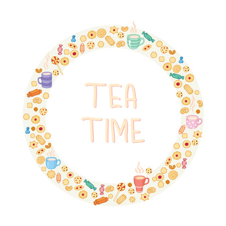 goodies: Circle frame of tea and sweets
