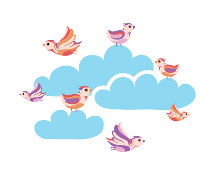 small flock: birds in the sky Illustration
