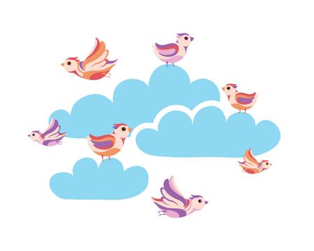 small flock: birds in the sky Illustration