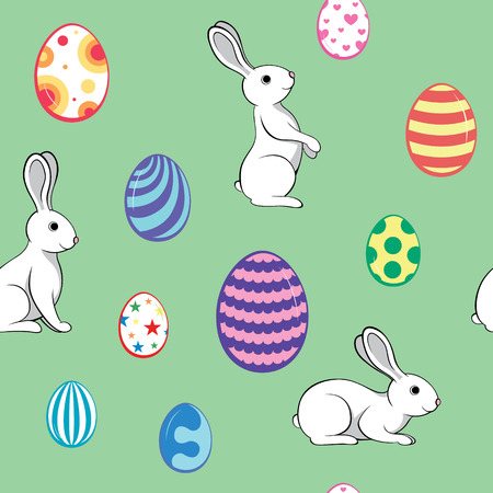 Seamless pattern of Easter eggs and rabbits