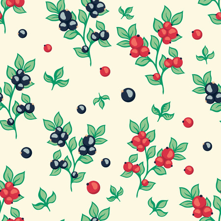 red currant: seamless pattern with berries black and red currant Illustration