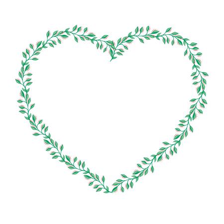 Hart frame met bladeren op een witte achtergrond
