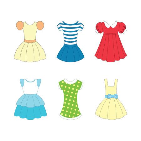 un conjunto de vestidos para las niñas en el fondo blanco