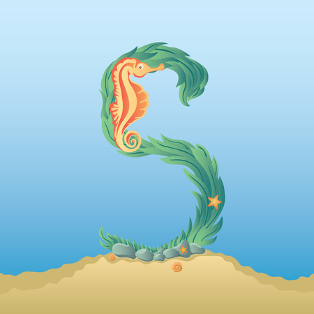 water s: Marine alphabet. Illustration of a letter S under water