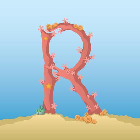under water: Marine alphabet. Illustration of a letter R under water