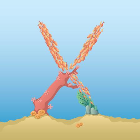 under water: Marine alphabet. Illustration of a letter X under water