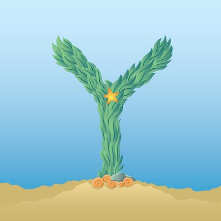 under water: Marine alphabet. Illustration of a letter Y under water Illustration
