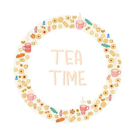 yellow tea pot: Circle frame of tea and sweets